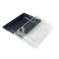 Barquette sushi plastique PS noir avec couvercle PET transparent 300ml 188x135mm H37mm