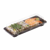 Barquette sushi plastique PS noir avec couvercle PET transparent  178x122mm