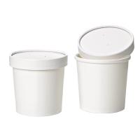 Pot carton blanc chaud et froid avec couvercle carton