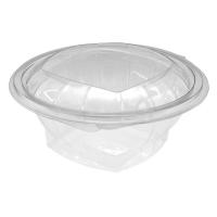Saladier rond transparent PET avec couvercle attaché