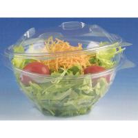 Saladier rond transparent plastique PET avec couvercle attaché
