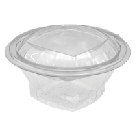 Saladier rond transparent PET avec couvercle attaché