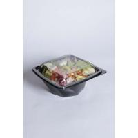 Saladier plastique PET carré noir vrillé