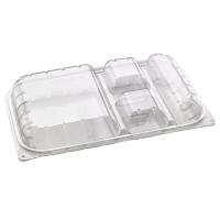Boîte repas plastique PET transparent 4 compartiments
