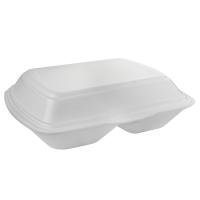 Coquille plastique PSE blanche 2 compartiments  210x245mm H72mm