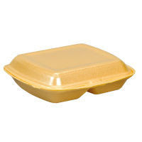 Coquille plastique PSE jaune 2 compartiments