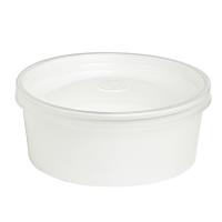 """Saladier rond en carton blanc avec couvercle transparent plastique PP """"Buckaty"""""""