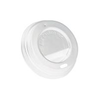 Couvercle plastique PS dôme blanc avec bec