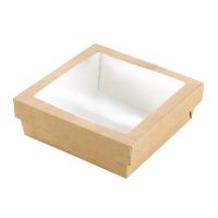 """Boîte """"Kray"""" carrée carton brun avec couvercle à fenêtre en PLA"""