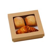"""Boîte """"Kray"""" carrée carton brun avec couvercle à fenêtre"""