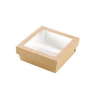 """Boite """"Kray"""" carrée carton brun avec couvercle à fenêtre"""