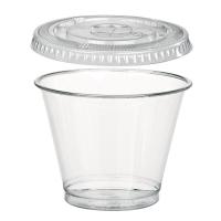 Gobelet transparent plastique PET avec couvercle plat