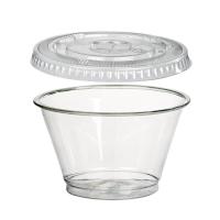Gobelet transparent plastique PET avec couvercle plat et trou