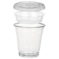 Pot/Coupe transparent plastique PET avec insert et couvercle plat