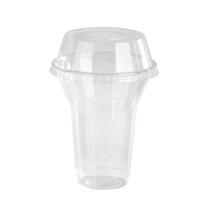 Pot/Coupe transparent plastique PET avec couvercle dôme et trou