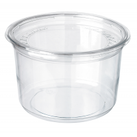 Pot Deli rond PET transparent avec couvercle rentrant