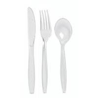 """Kit couvert plastique PS transparent """"Majesty"""" 6/1: couteau fourchette cuillère serviette sel poivre"""