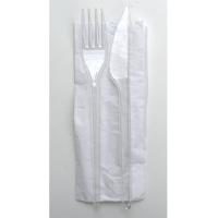 Kit couvert plastique PS transparent 3 en 1: couteau fourchette serviette