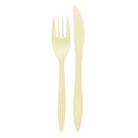 Kit couvert plastique PP beige 2 en 1: couteau et fourchette