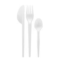 Kit couvert plastique PS blanc 4 en 1: couteau fourchette cuillère serviette, emballage transparent