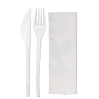 Kit couvert plastique PS blanc 3 en 1: couteau fourchette serviette, emballage transparent
