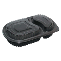 Boite repas plastique PP noire 2 compartiments