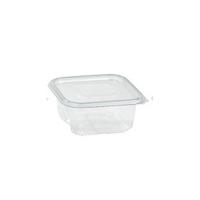 Barquette plastique PET rectangulaire transparente avec couvercle attaché