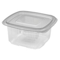 Barquette plastique PET carrée transparente avec couvercle attaché