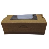 Boîte salade carton kraft brun à double fenêtre