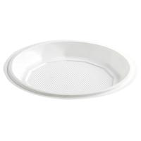 Assiette plastique PS blanche ronde