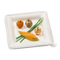 Assiette carrée blanche en pulpe