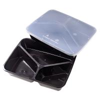 Boite rectangulaire noire plastique PP à 3 compartiments avec couvercle transparent