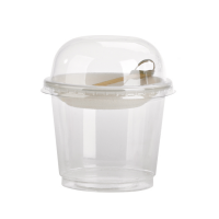 Pot plastique PET transparent avec couvercle dome