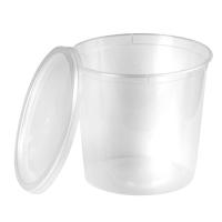 Boite plastique PP ronde transparente avec couvercle 870ml Ø120mm  H125mm