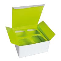 Boîte carton cup cake avec insert vert (pour 4 pcs)