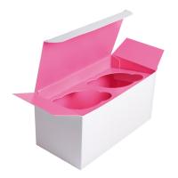 Boîte carton cup cake avec insert rose (pour 2 pcs)