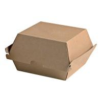 Boîte burger carton kraft brun microcannelé  145x130mm H80mm