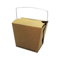 Boîte carton kraft carré biodégradable avec anse 450ml 95x73mm H90mm