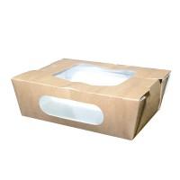 Boîte salade carton kraft brun à double fenêtre 900ml 166x118mm H50mm