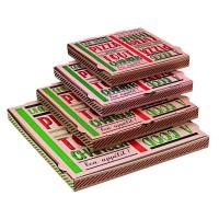 """Boîte à pizza carton brun décor """"Une bonne pizza""""  260x260mm H35mm"""