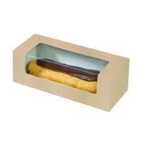 Boîte carton à fenêtre PLA pour éclair ou macaron  150x60mm H50mm