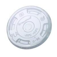 Couvercle PLA plat transparent avec ouverture en C  Ø96mm