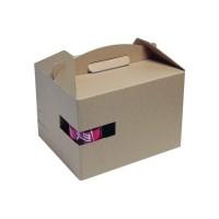 "Boîte carton kraft avec poignée ""LunchNGo""  300x200mm H175mm"