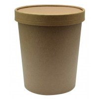 Pot carton brun chaud et froid avec couvercle carton 940ml Ø116mm  H135mm