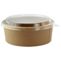 Saladier rond en carton kraft avec couvercle plastique PET 'Buckaty' 1300ml Ø185mm  H65mm