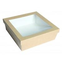 """Boîte """"Kray"""" carrée carton brun avec couvercle à fenêtre 4000ml 245x245mm H80mm"""