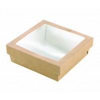 Boîte 'Kray' carrée carton brun avec couvercle à fenêtre 700ml 155x155mm H50mm