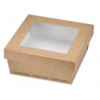 """Boîte """"Kray"""" carrée carton brun avec couvercle à fenêtre 500ml 135x135mm H50mm"""