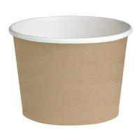 Pot 'Deli' rond en carton décor brun 650ml Ø114mm  H99mm