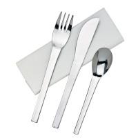 Kit couverts inox 4/1: couteau fourchette cuillère serviette, emballage transparent   H160mm